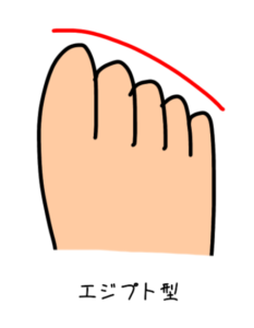 エジプト型の足のイラスト