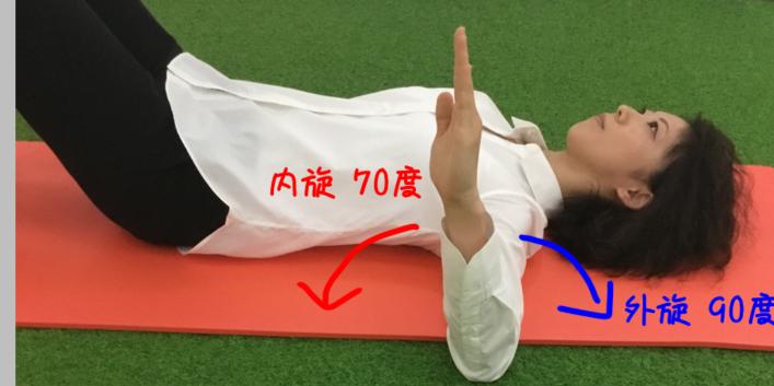 2ndポジションでの肩関節の内旋外旋可動域のイラスト