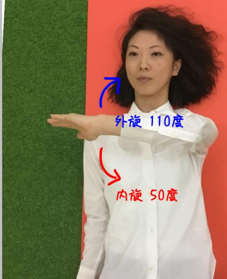 3rdポジションでの肩関節の内旋外旋可動域のイラスト