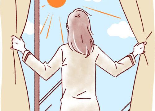 太陽光を浴びる女性のイラスト